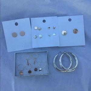 H&M Gold Silver Stud Hoop Earring Bundle